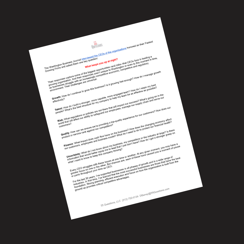 55 Questions That Drive Your Business document