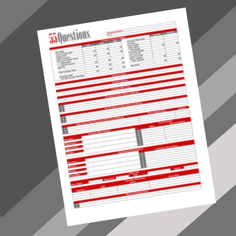 One Page Business Plan form